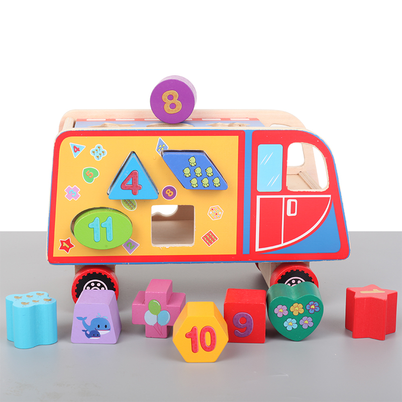 Wooden Bus Toy for Number Counting Stacking Shape Sorting Toys