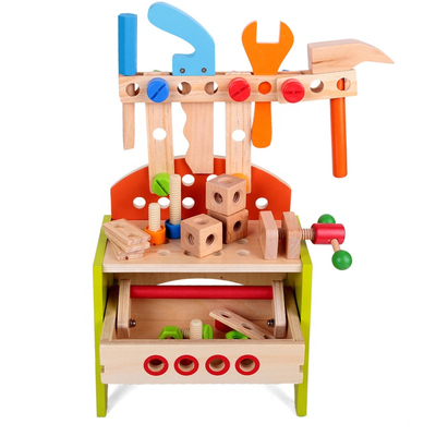 Easy Assembly Kids Pretend Play Educational Wooden Workbench Boy Tool Toy Set