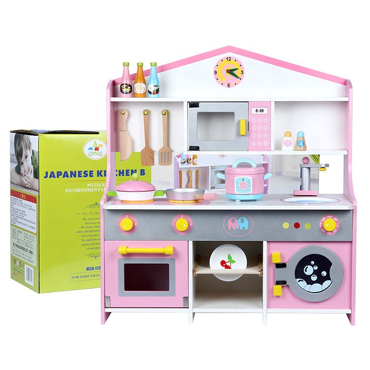 wholesale children pink stove intelligence educational kids wooden play kitchen sets