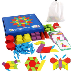 Kids 155pcs Creative Wooden Pattern Blocks Toys