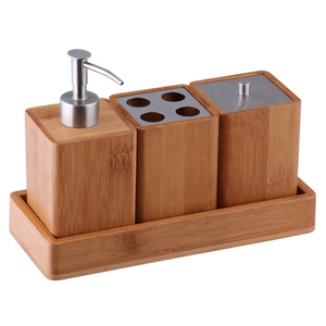 Bamboo Bathroom Essentials Accessory Set