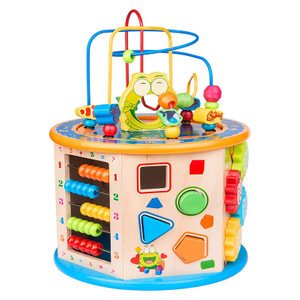 multi-functional intelligence treasure box toys puzzle cube big bead wooden toys