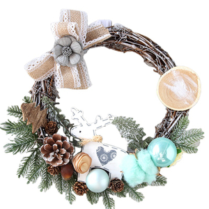 Christmas Wood Ornaments Wicker Wreath