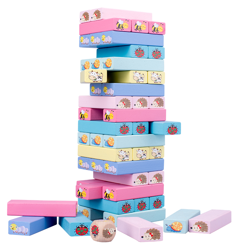 Animal Kids Educational Stack tall wooden Toys
