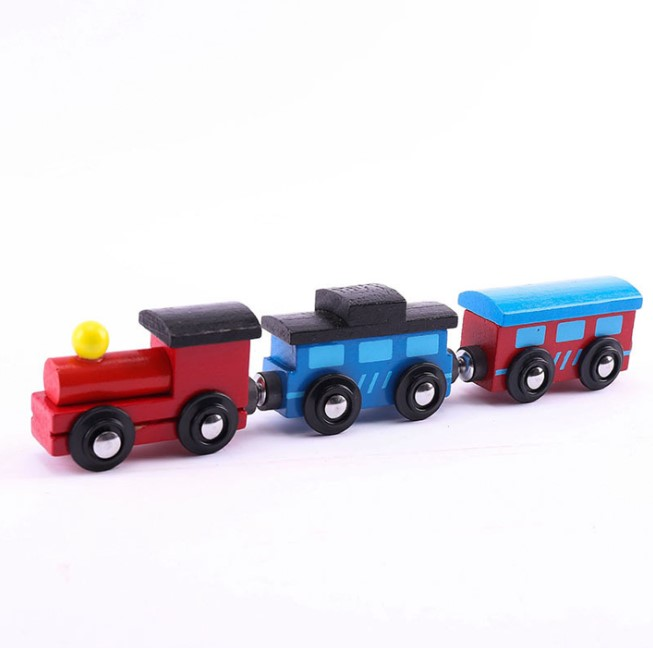 Children wooden animal train toys