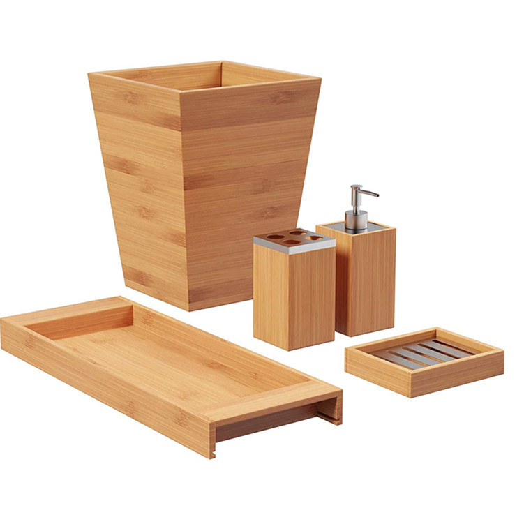 5-piece Accessories Bamboo bathroom set