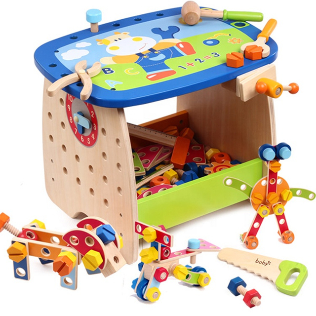Multi-Function Educational Wooden Tools Assemble Wood Work Bench Toy