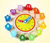 Teaching kids educational wooden time clock