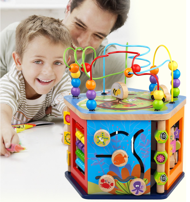 Kids Educational Wooden Toy Beads Coaster