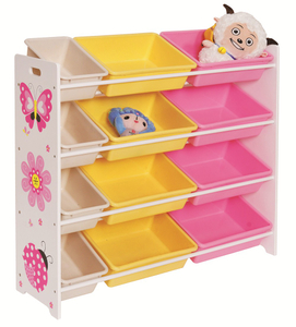 wooden kid's toy storage shelf