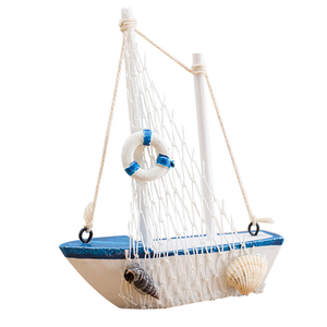 Handmade wood sailboat decoration