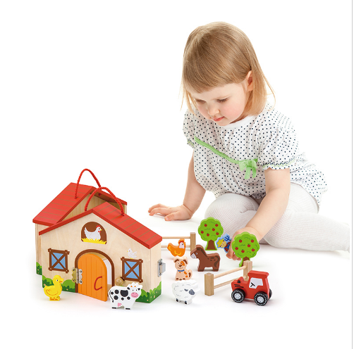 Wooden Doll House Farm Toy