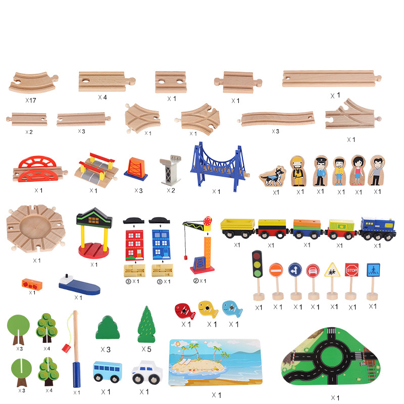 Wooden Track Train Set Toy Railway Magic Transportation DIY Assembling Toys