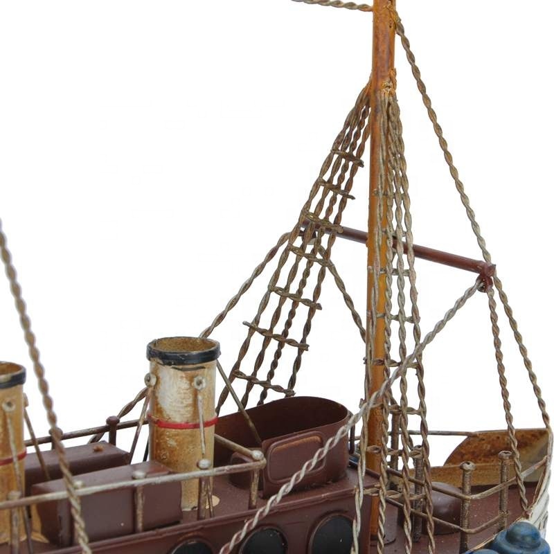 American Mediterranean Style Metal Sailing Ship Model