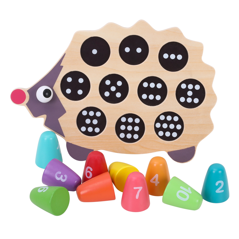 Wooden hedgehog numbers game toys