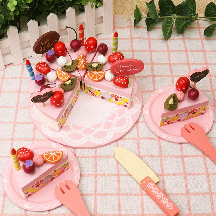 Wooden Happy Birthday Party Cake DIY Cutting Pretend Play Wood Birthday Cake with Candles