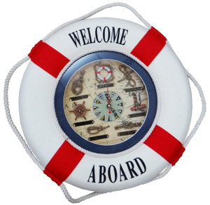 Decorative Life Buoy with Clock