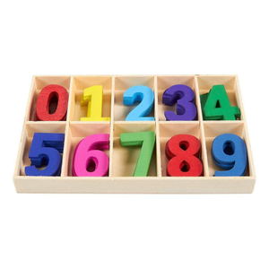 Wooden Craft Numbers with Storage Tray