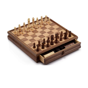 2 IN 1 Wooden Chess & Checker Combo Board Game Set